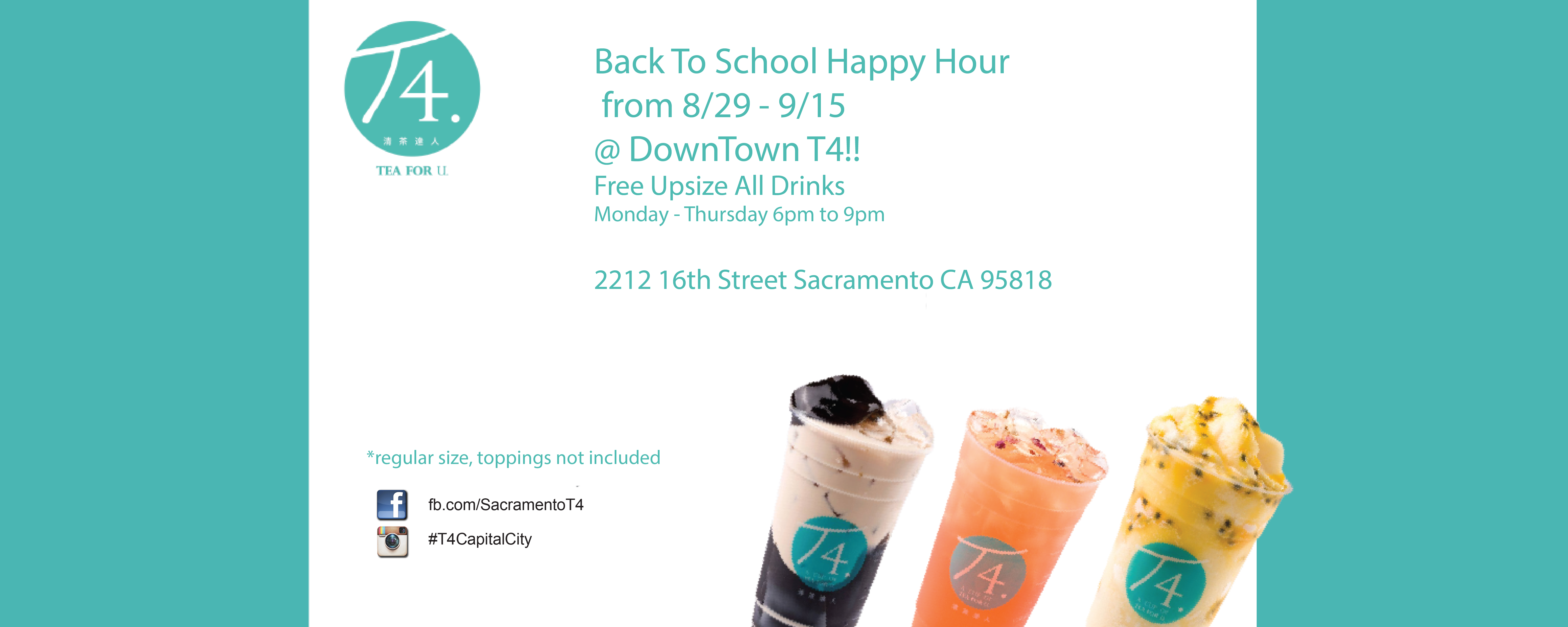 Happy hour is back! 8/29 to 9/15.  All drinks are auto upsize from 6-9pm, Monday thru Thursday.  Downtown Location only*