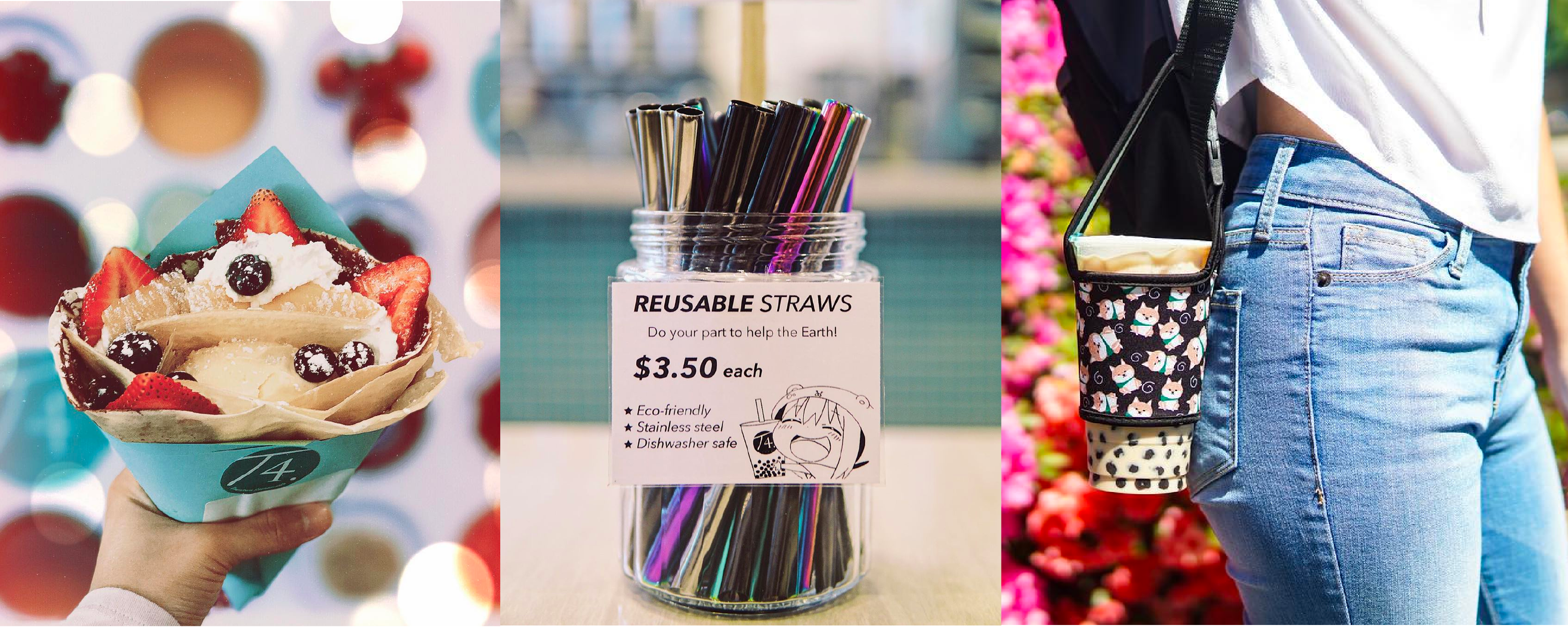 Reusable Cupholder, reusable stainless steel boba straw, mix fruit ice cream crepe